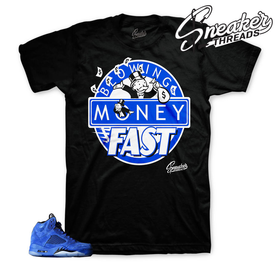 Blue suede Jordan retro 5 clothing match | Sneaker match shirts