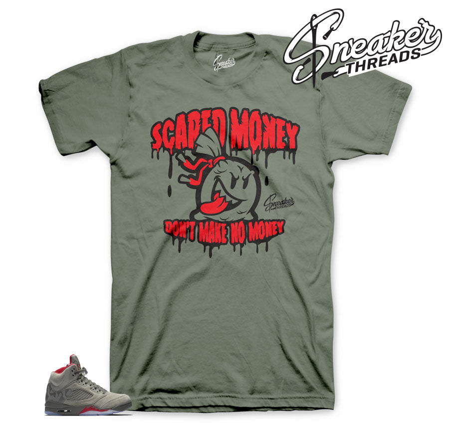 Jordan 5 camo shirts match retro 5 dark stucco sneakers.