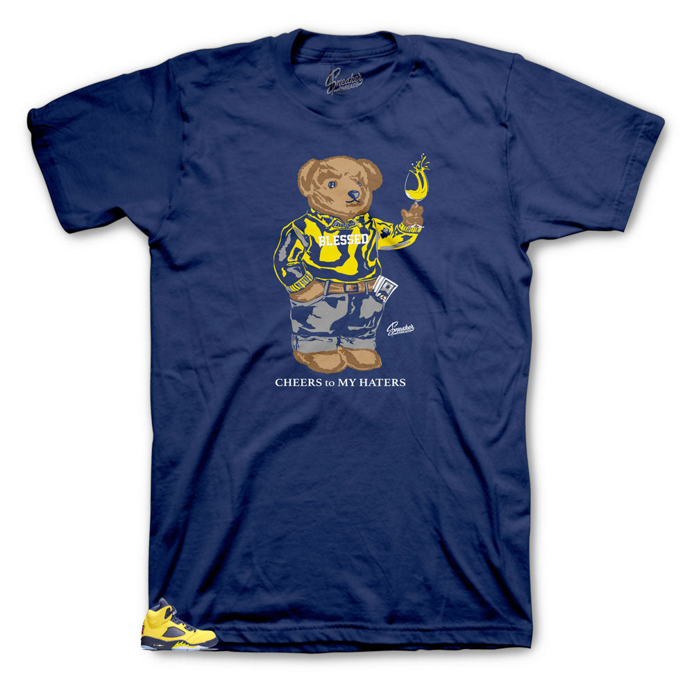 Jordan 5 Michigan Sneaker Tees Match Retro 5 Amarillo Navy shoes.