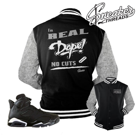 Jordan 6 black cat jackets match retro 6 black cat coats.