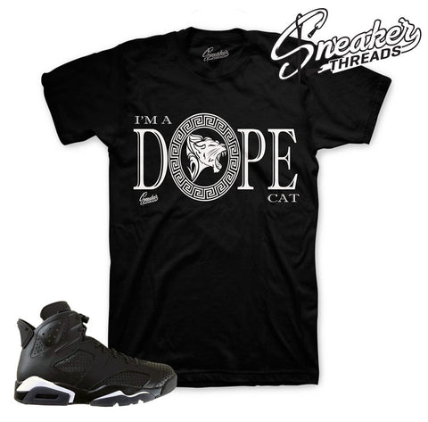 Black cat Jordan 6 shirts match retro 6 black cat 6's.