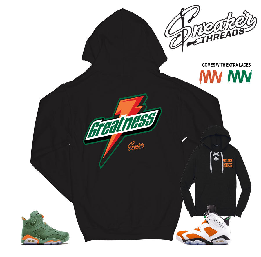 Gatorade Jordan 6 hooded sweatshirts match retro 6 shoes.