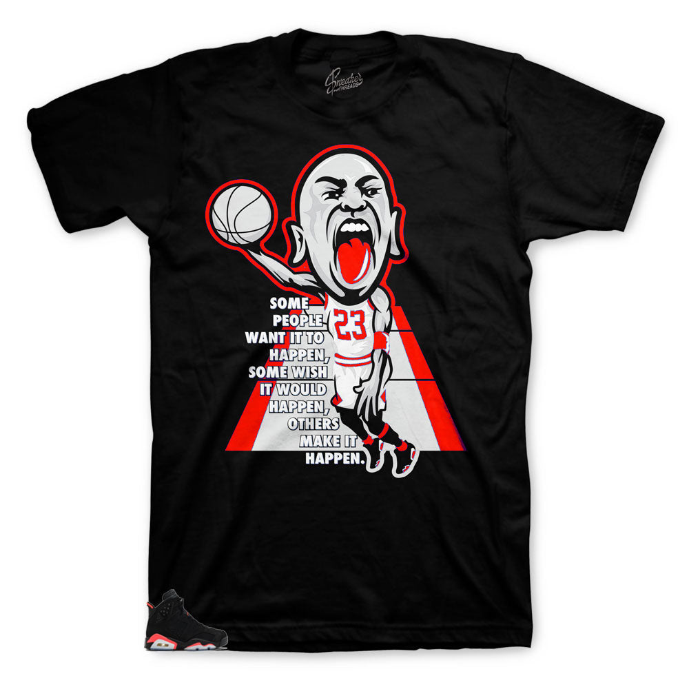 Infrared Jordan 6 sneaker matching teeshirt designed to match Jordan infrared sneakers