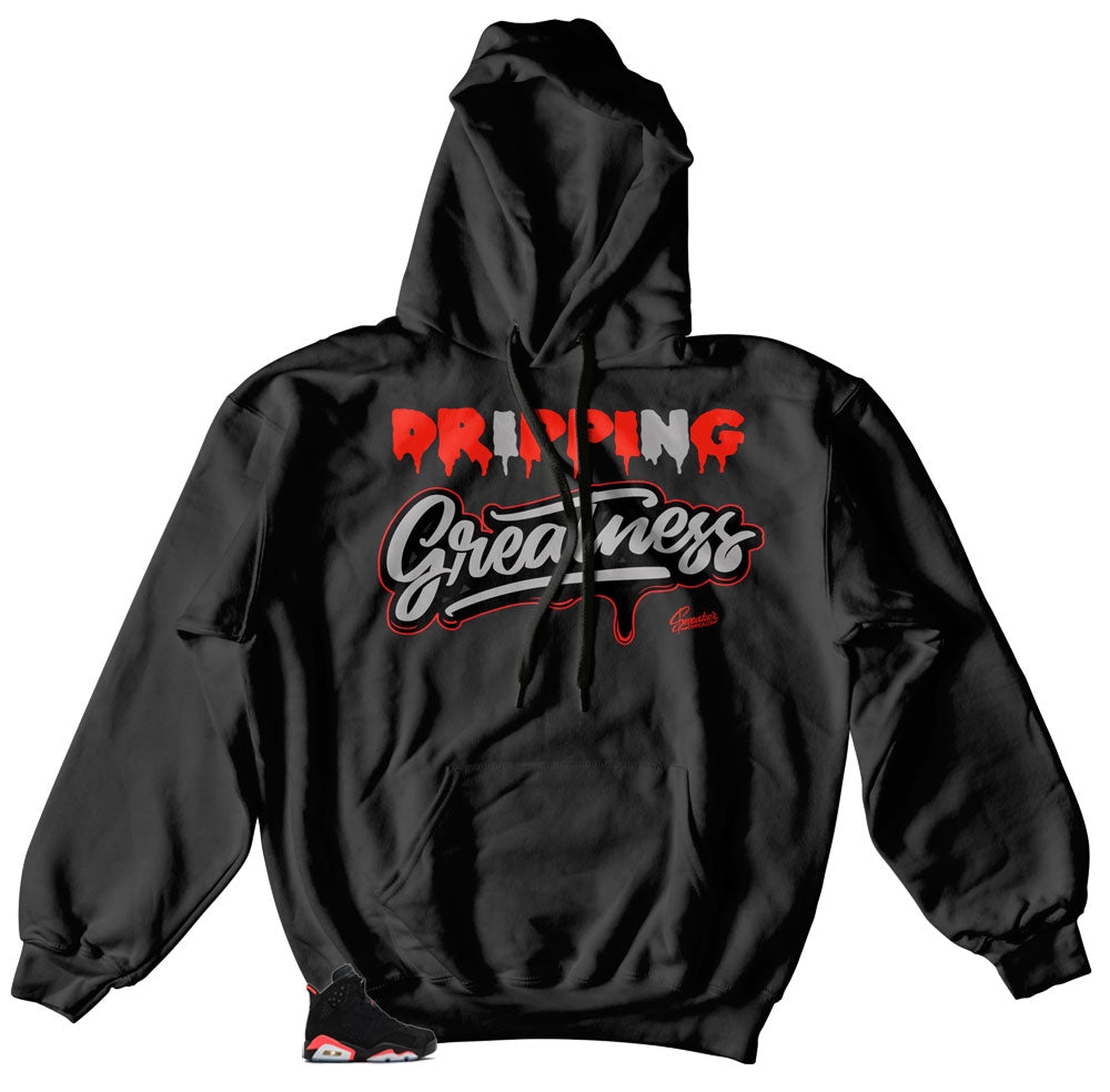 Retro Jordan 6 Infrared sneaker matches hoody designed to match Retro Infrared Jordan 6 sneakers