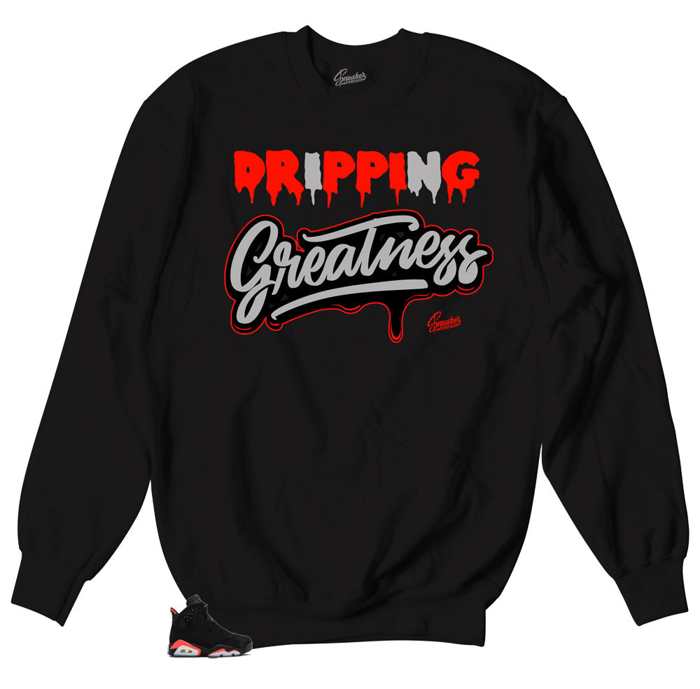 Jordan 6 retro sneaker infrared matches sweater designed to match Jordan 6 retro sneakers