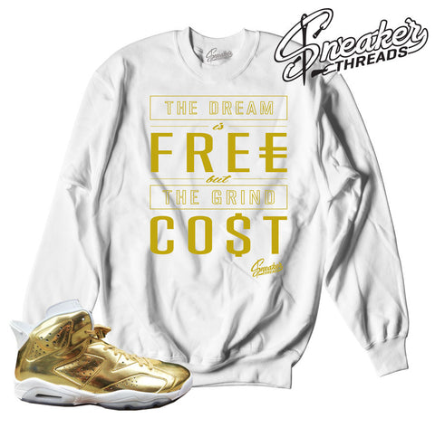 Sweaters match Jordan 6 pinnacle gold retro 6 sneaker crews.