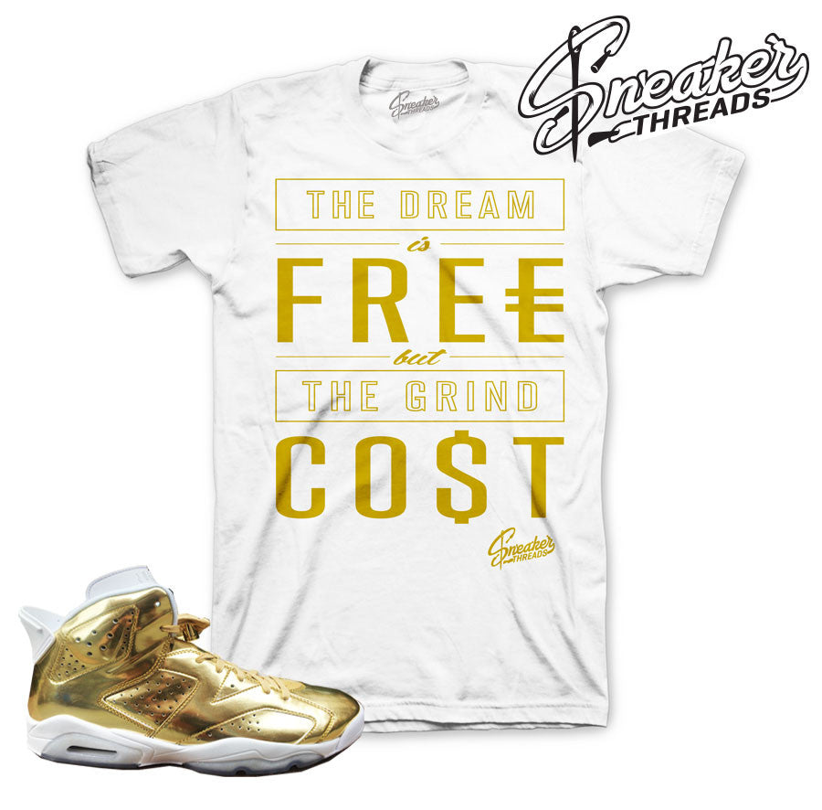 Jordan 6 pinnacle gold shirts match retro 6 sneaker tees.