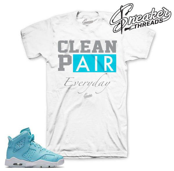 Jordan 6 still blue sneaker tees match shoes.