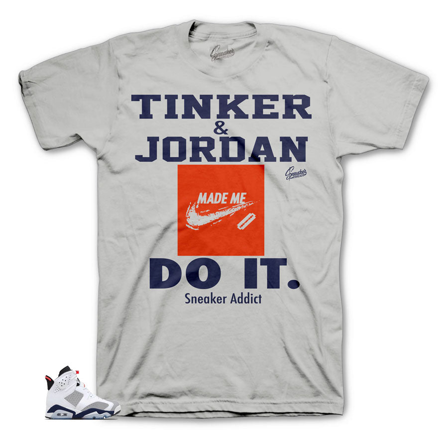 Jordan 6 tinker sneaker tees match retro 6 shoes.