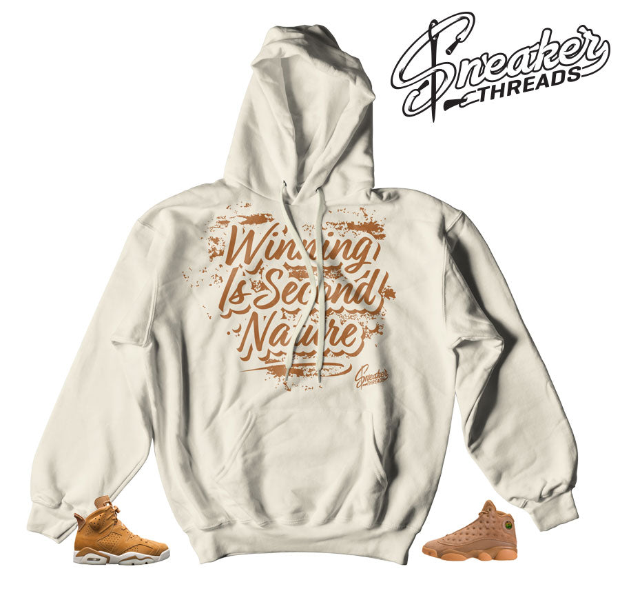 Hoodies match Jordan 6 wheat retro 13 elemental gold.