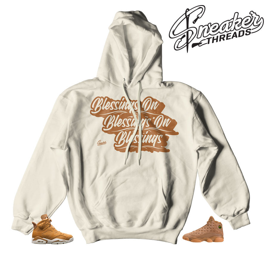 Jordan 6 wheat hoodies match retro 13 elemental gold.