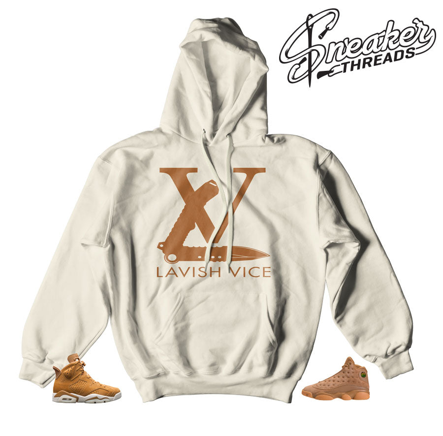 Jordan 6 wheat hooded sweatshirts match retro 13 elemental gold.