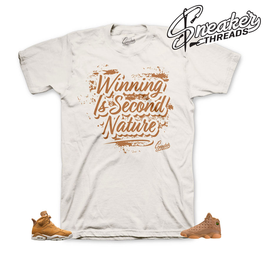 Jordan 6 wheat shirts match retro 13 elemental gold shoes.