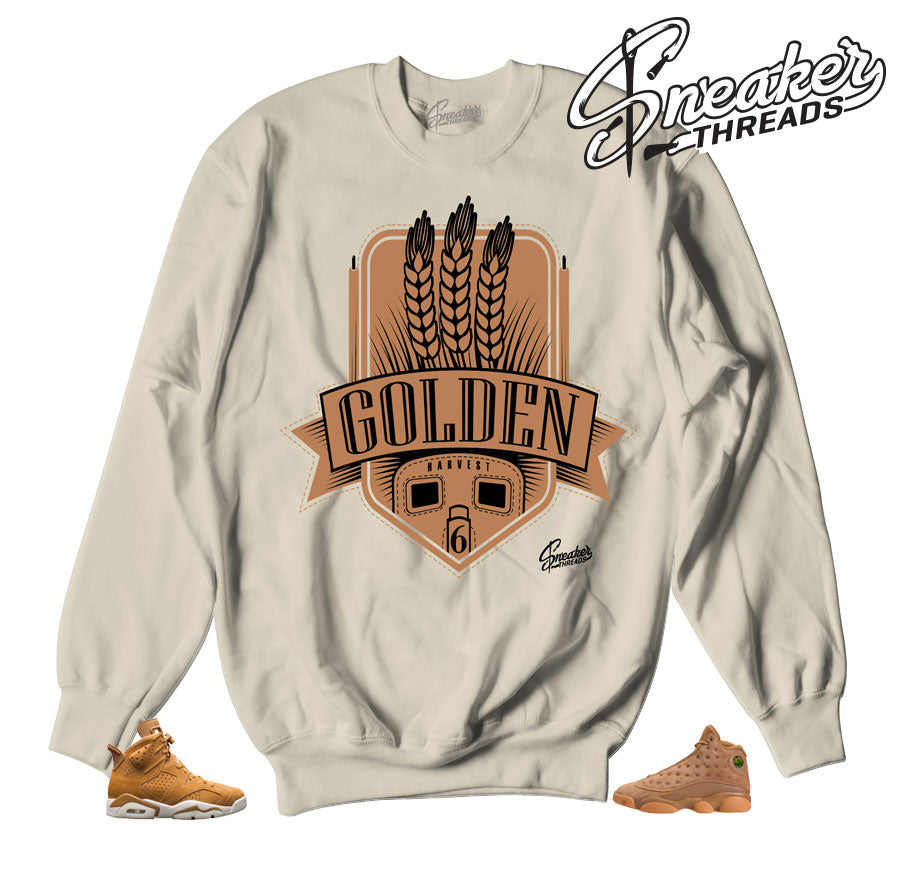 Jordan 6 wheat sweaters match retro 13 golden harvest crews.