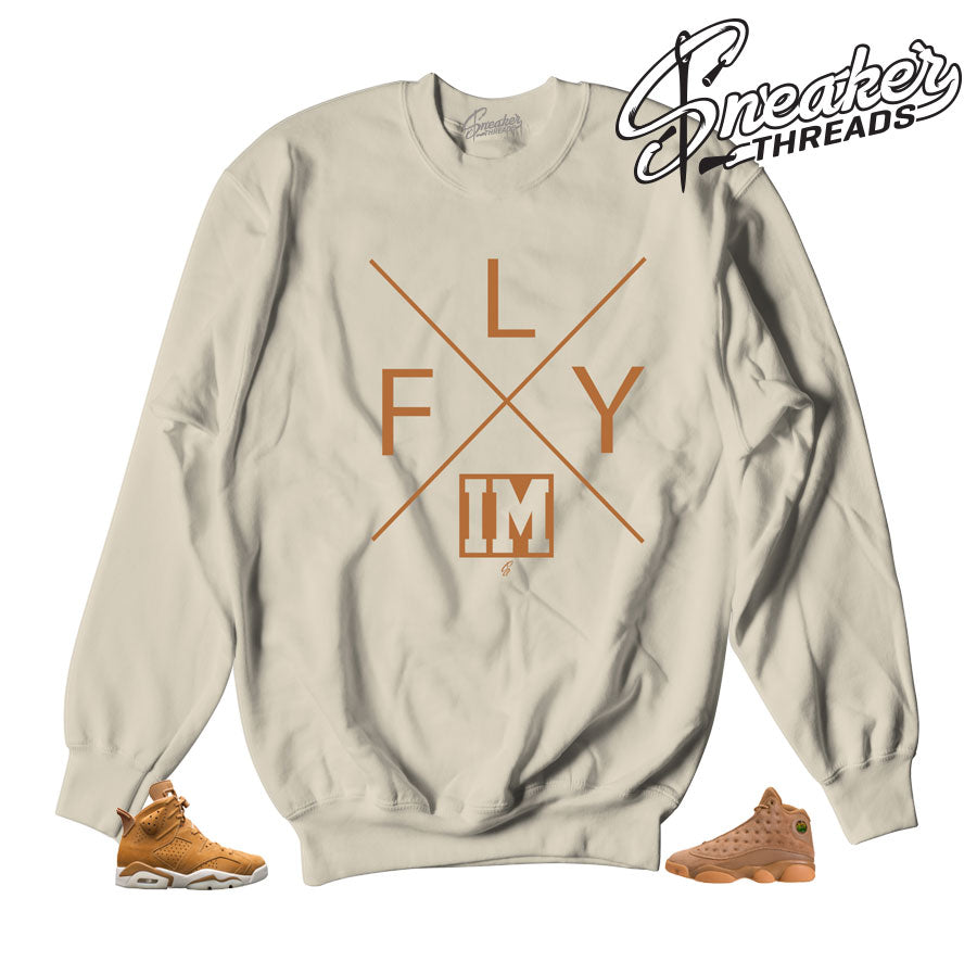 Sweatshirts match Jordan 6 wheat retro 13 golden harvest.