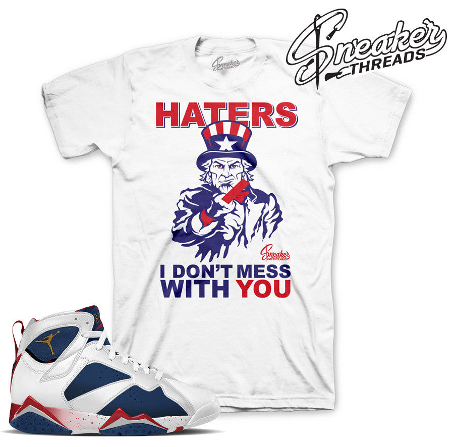 Jordan 7 olympic shirts match retro 7 olympic. Fresh sneaker tees.