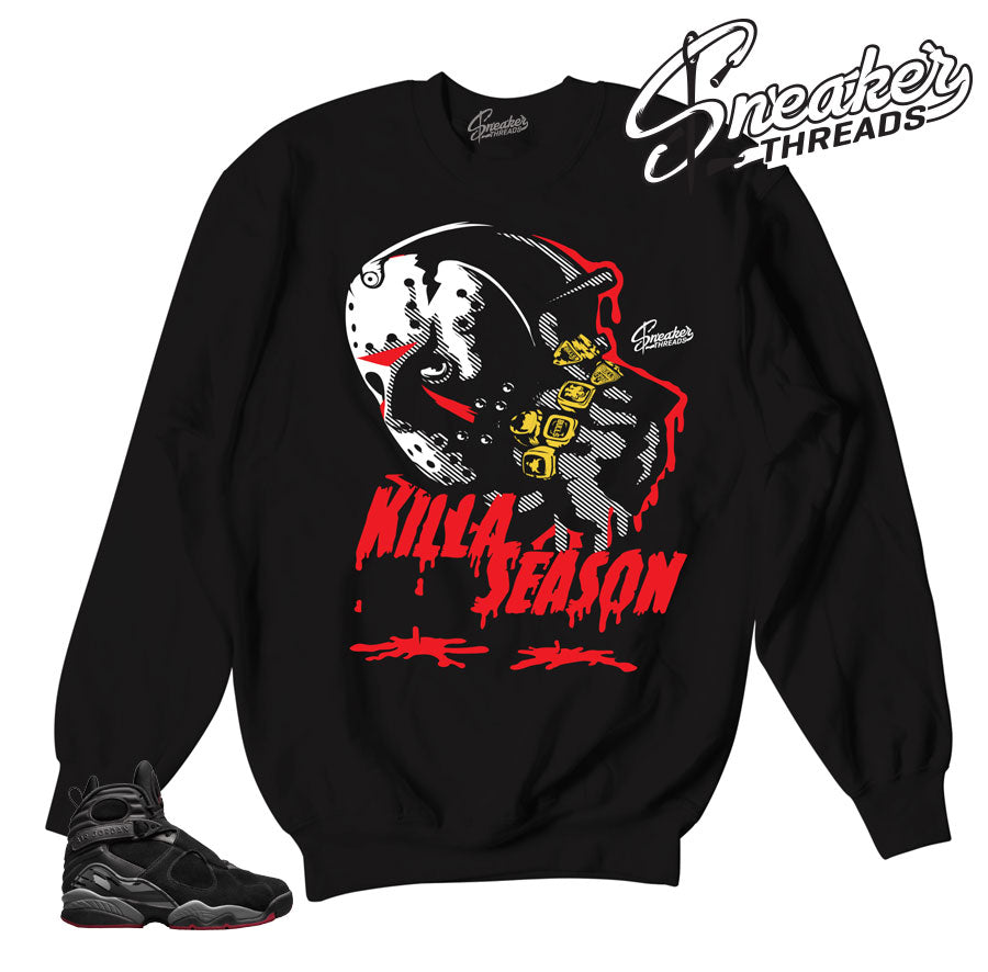 Jordan 8 cement sweatshirts match retro 8 bred crewnecks.