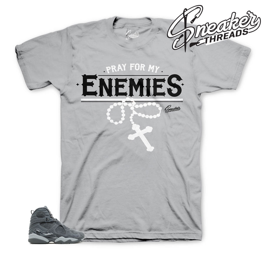 Jordan 8 cool grey shirts official matching retro 8 sneaker tees.