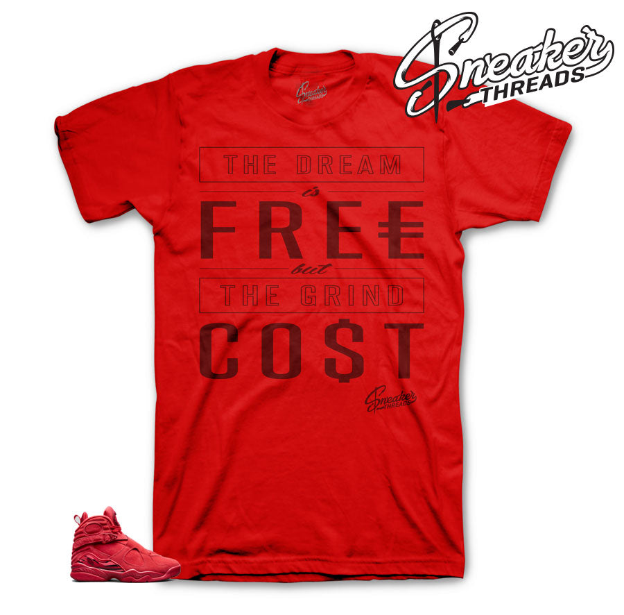 Jordan 8 valentine day tee shirts match retro 8 red suede shoes.