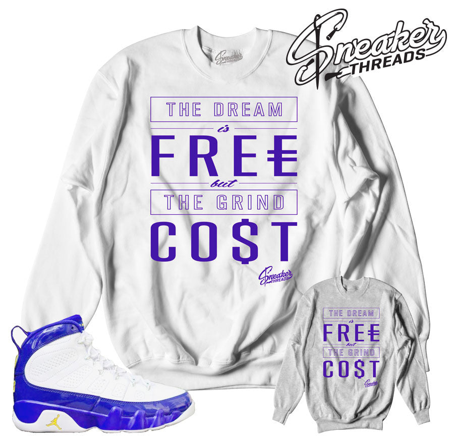 Jordan 9 lakers crewnecks match retro 9 sneaker sweatshirt.