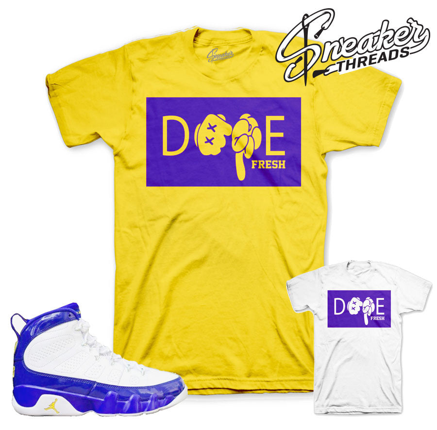 Jordan 9 lakers shirts match retro 9 lakers tees.