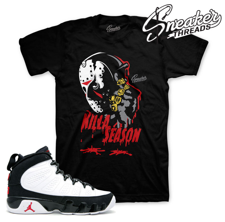 Jordan 9 og shirts match retro 9 og tees true red.