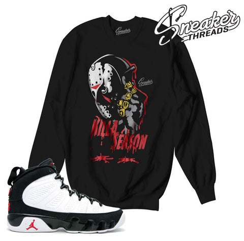 Jordan 9 og sweater match retro 9 og crew true red OG 9 tee.