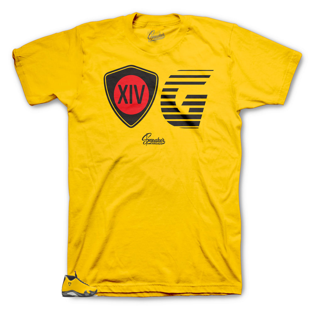 Sneaker tees match Jordan 14 yellow ferrari shirts