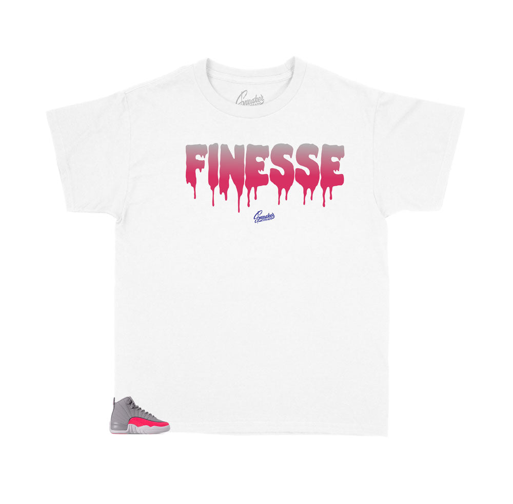 Kids Jordan 12 racer pink sneakers have matching kids shirts designed to match the racer pink sneakers