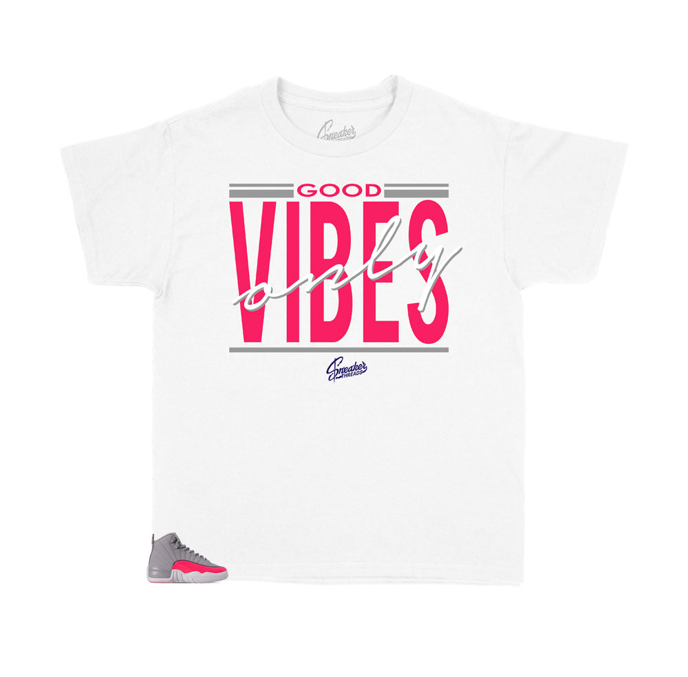 Jordan kids 12 racer pink collection has matching kids shirts created to match the sneakerr racer pink sneakers