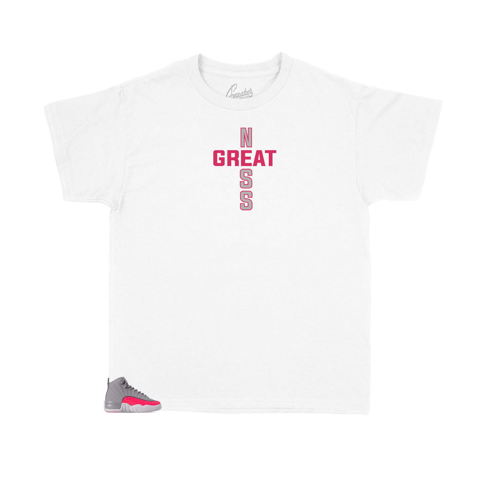 Jordan 12 Racer pink kids shoes matches kids shirts made to match the Jordan 12 racer pink sneakers