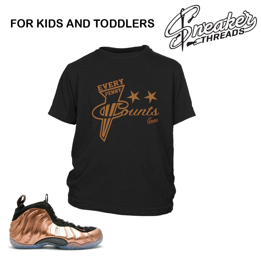Kids copper foamposite tee match foam toddler shoes.