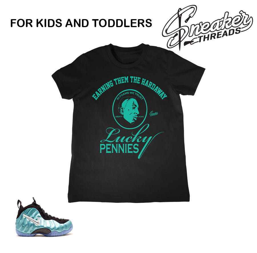 Kids foamposite island green shirts match | Kids foam shirts.
