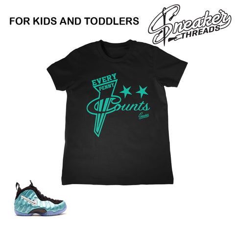 Kids foamposite island green tees match foam sneaker shirts.