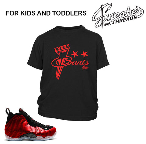 Kids fomaposite metallic red tee shirt match foam toddler shirt.