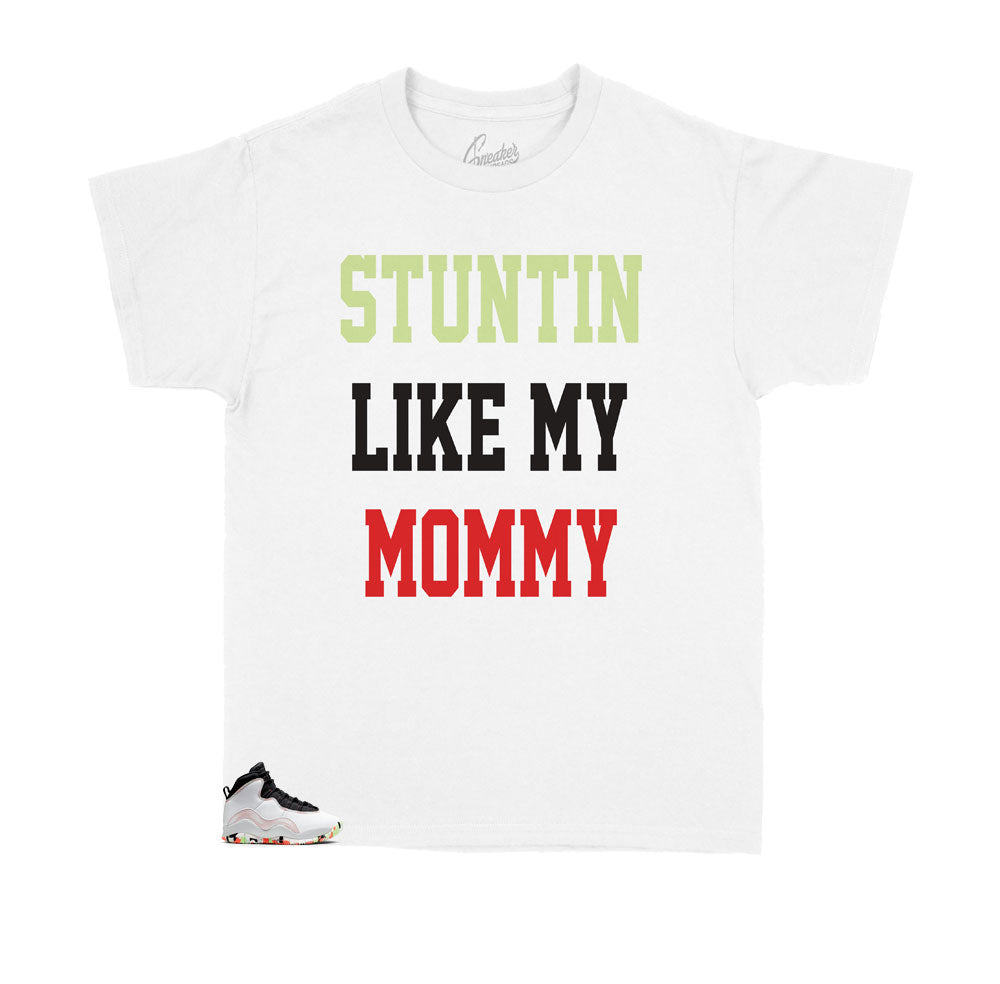 Kids tees made to match the Jordan 10 Ember glow sneaker collection for kids
