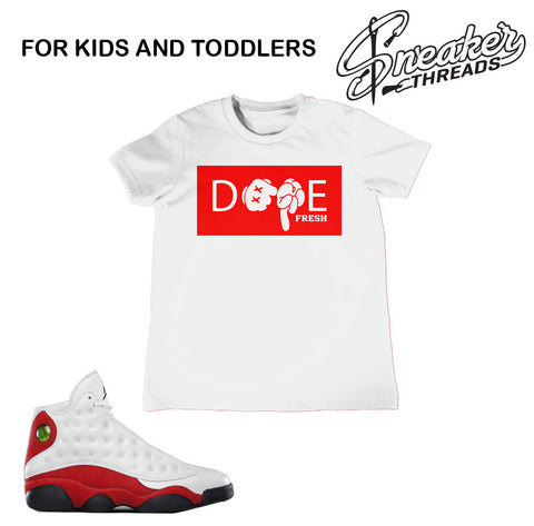 Boys Jordan 13 Og Chicago tees match retro 13 toddler shoes.