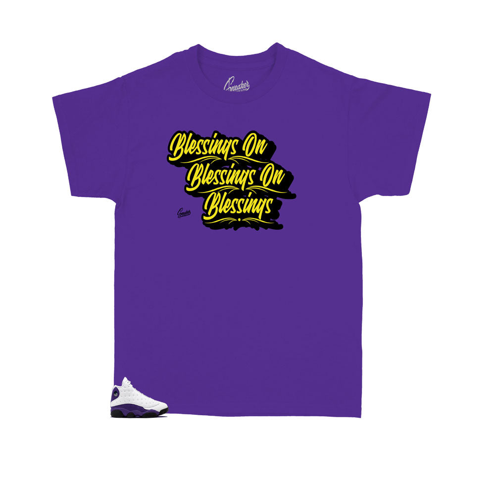Purple kids shirts designed to match perfectly with the kids Jordan 13 lakers collection