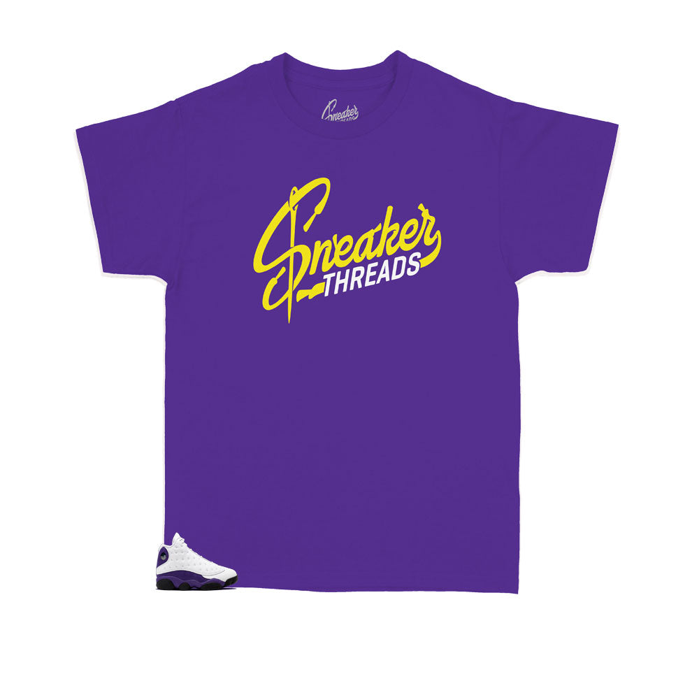 Kids Jordan 13 Laker sneaker collection matches Kids shirt collection designed to match perfectly with the Jordan 13 laker kids collection