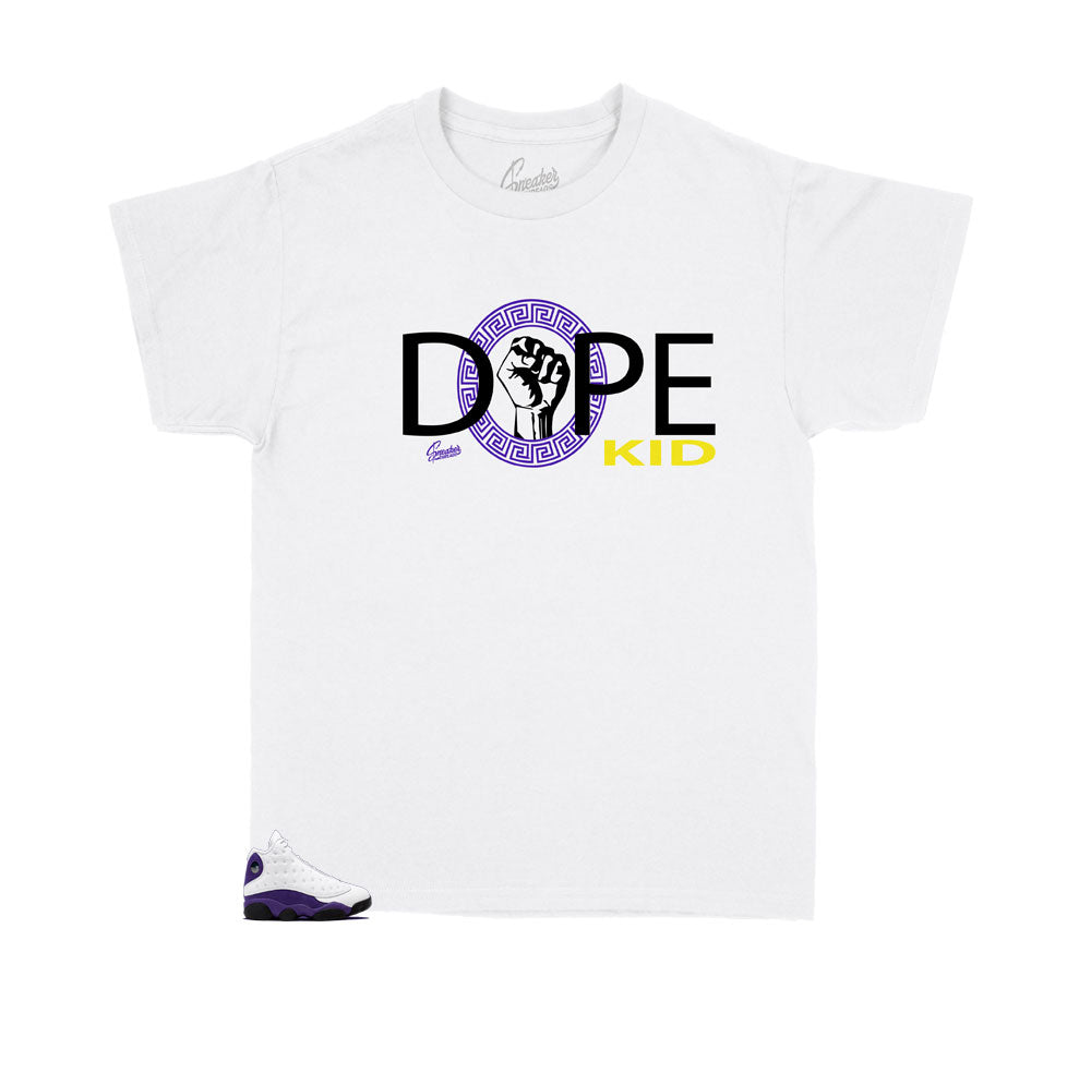 JOrdan 13 kids shoe collection lakers matches kids shirt designed to match perfectly