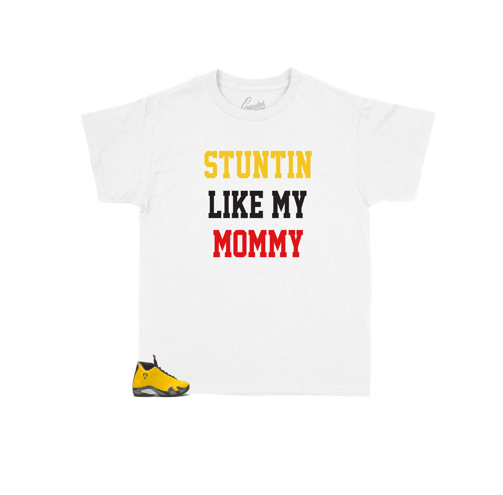 Jordan 14 reverse ferrari sneaker tees | Kids matching tees for shoes.