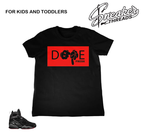 Kids toddler Jordan 8 cement shirts match shoes.