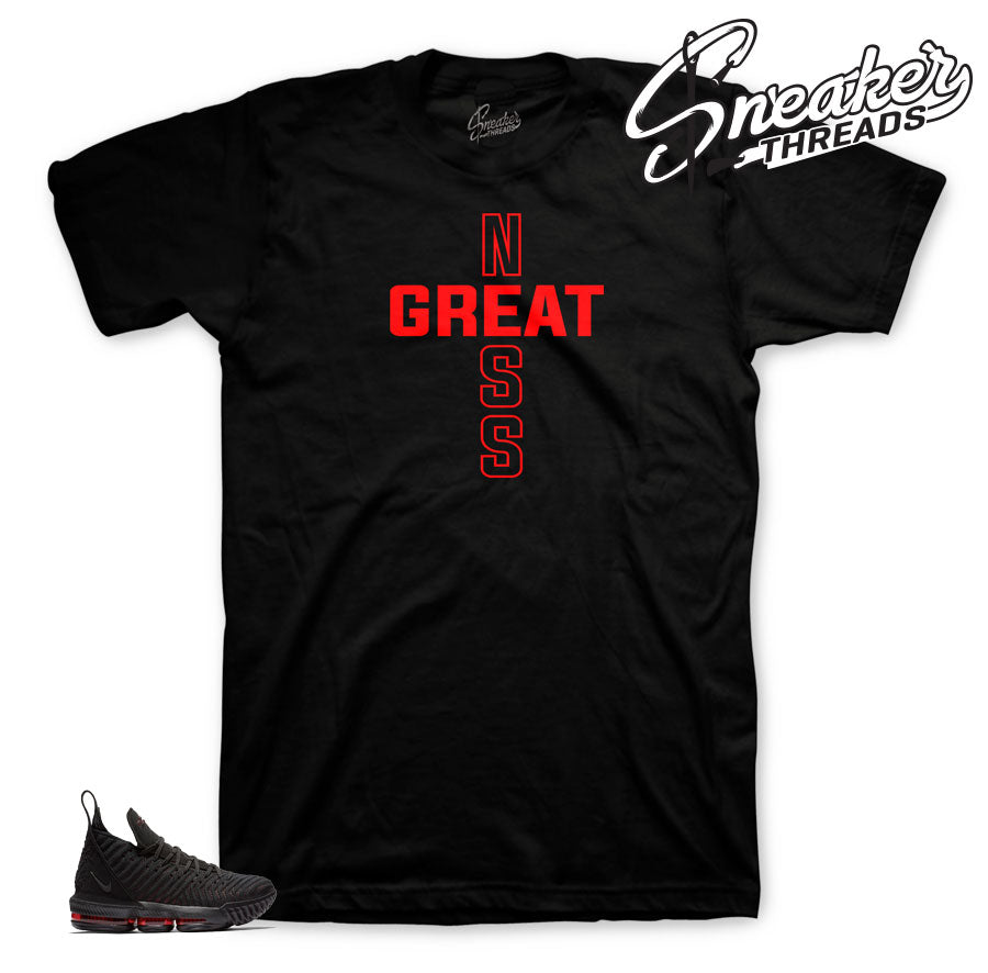 Lebron 16 bred sneaker shirts match lebron 16 bred sneakers.