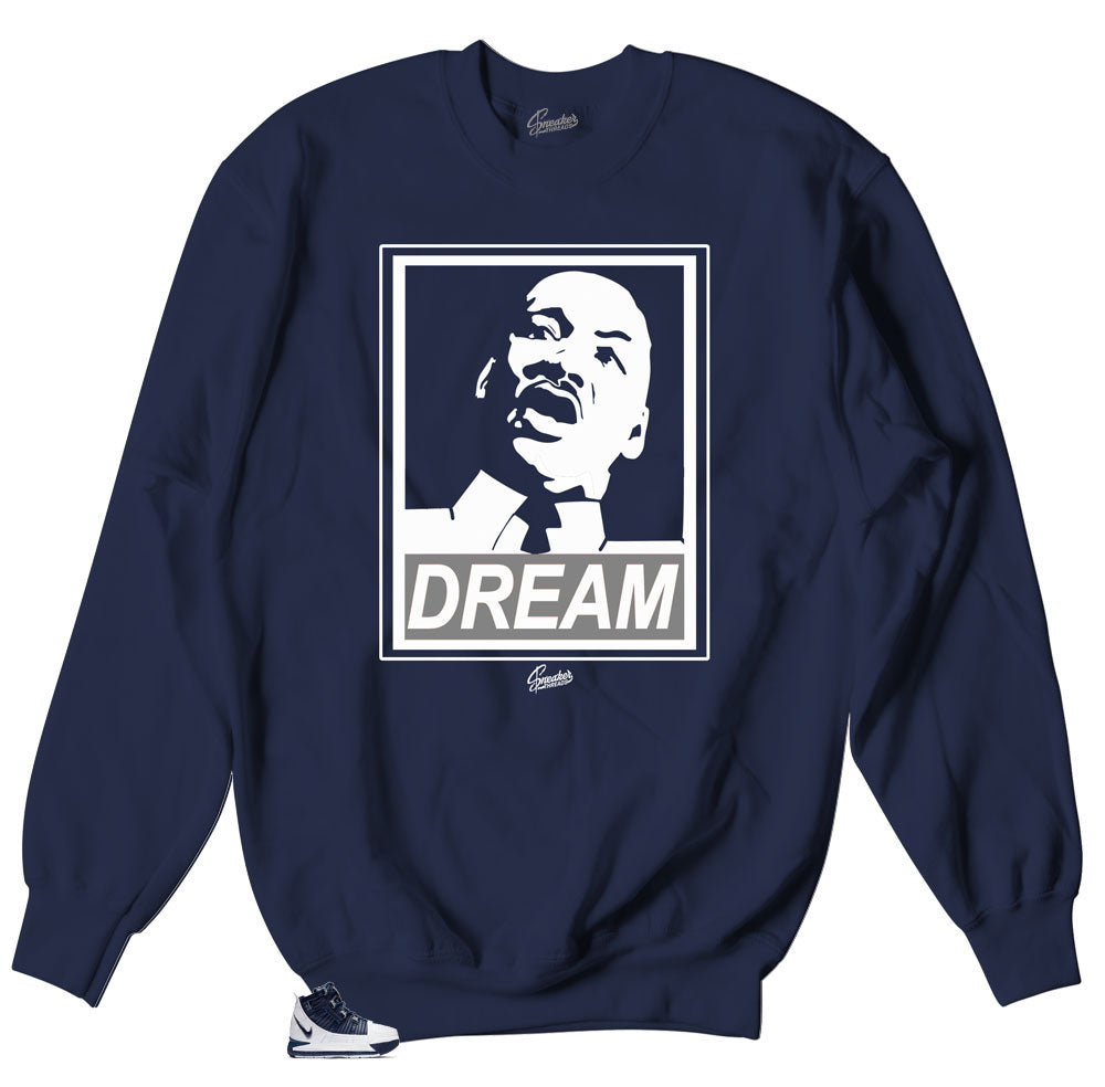 Lebron III Midnight Navy sneaker matches crewneck sweaters made to match Lebron III Midnight Navy sneaker