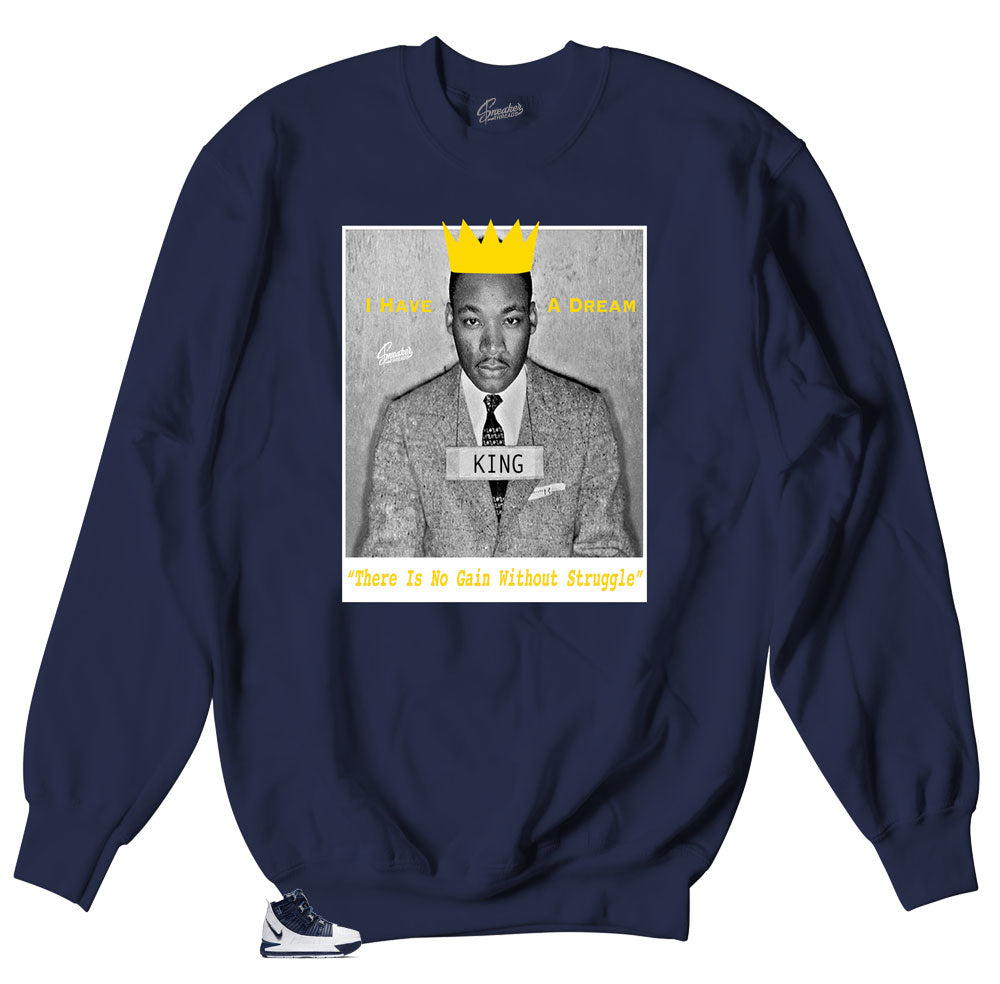 Crewneck collection matches Lebron III midnight navy sneakers collection