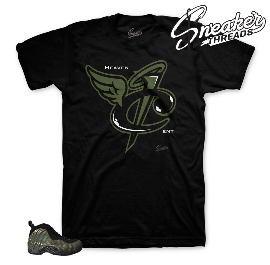 Legion green foamposite shirts match foam shoes.