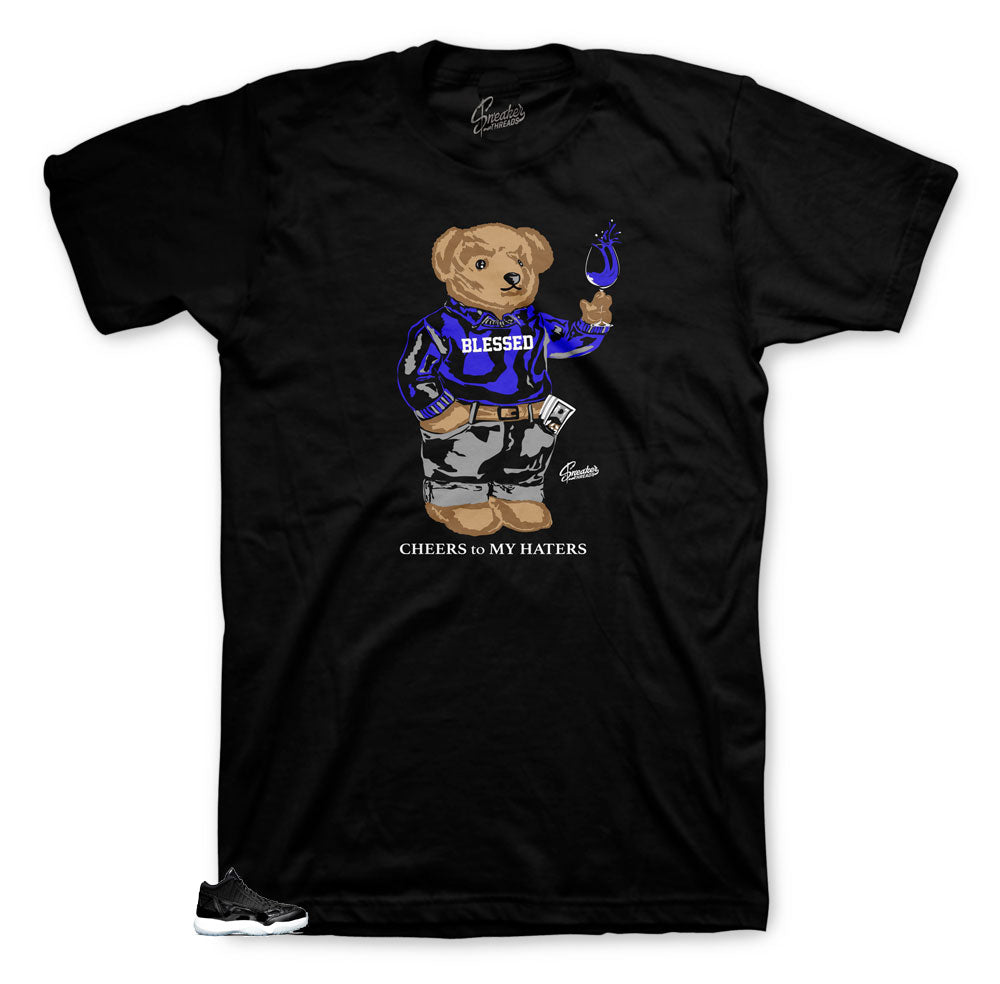 Jordan low space jam 11 sneaker has matching tees designed to match the Jordan 11 low space jam sneakers