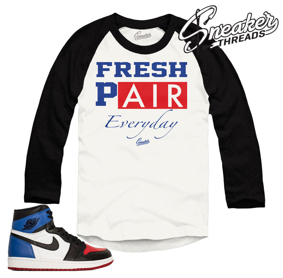 Jordan 1 top 3 raglan shirts match retro 1 top 3 sneakers.