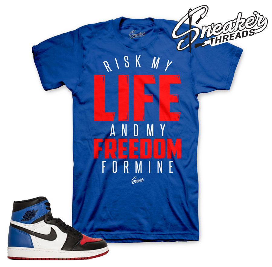 Jordan 1 top 3 tees match retro 1 top three sneaker shirts.