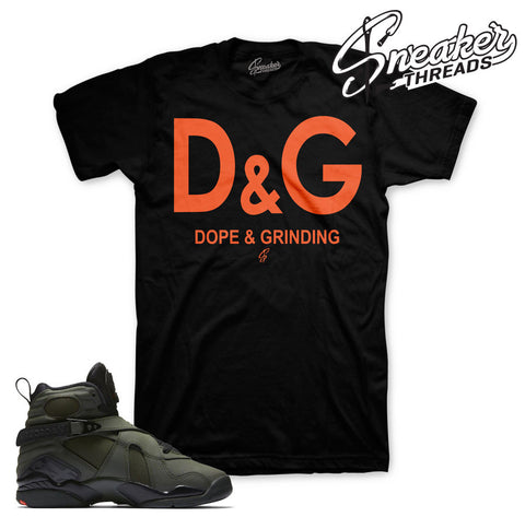 Match Jordan 8 take flight shirts retro 8 sequoia tees.